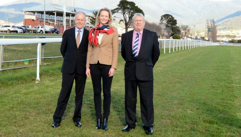 Elwick track redevelopment launch (L-R) Tasracing chairman Dean Cooper, Racing Minister Sarah Courtney and TRC chairman Andrew Scanlon